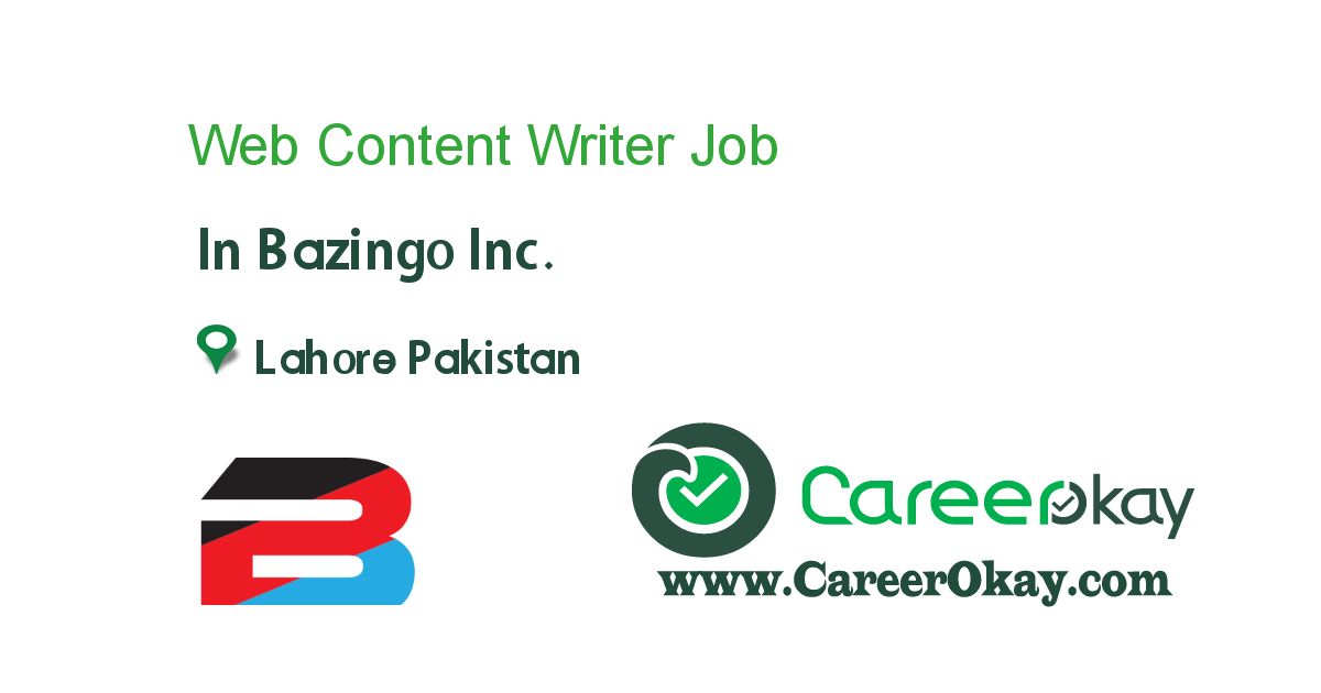 Technical SEO Content Writer job in Bazingo Inc. in Lahore Pakistan