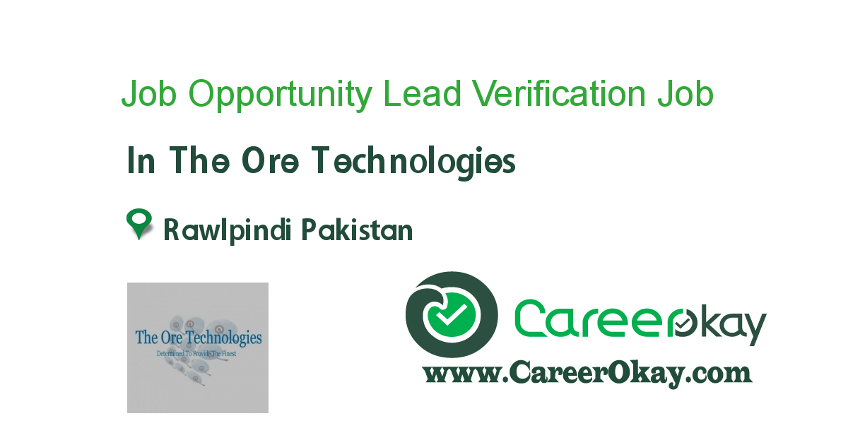 Job Opportunity Lead Verification Officers..!!
