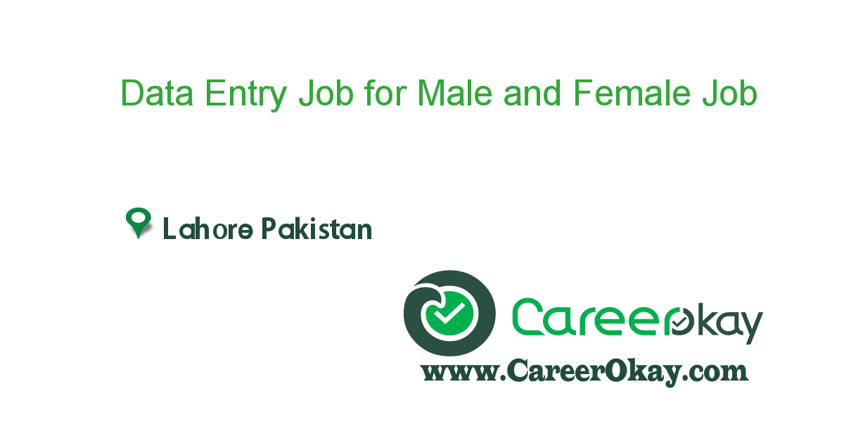 Data Entry Job for Male and Female