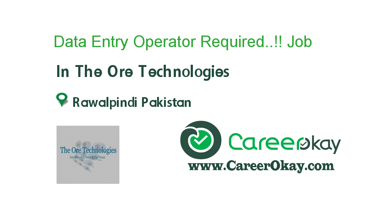 Data Entry Operator Required..!!