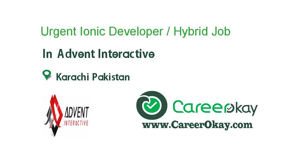 Urgent Ionic Developer / Hybrid Developer