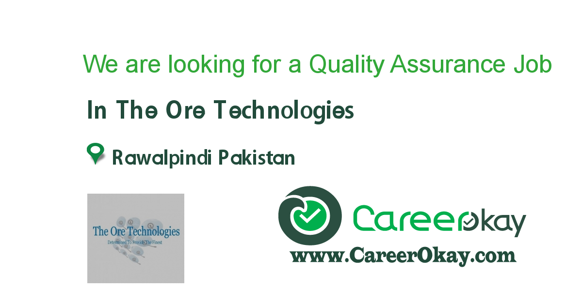 We are looking for a Quality Assurance Analyst..!!