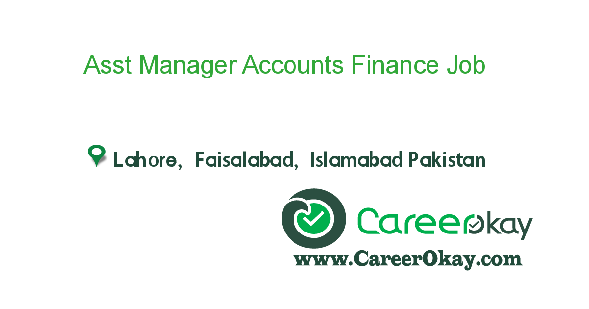 Asst Manager Accounts Finance