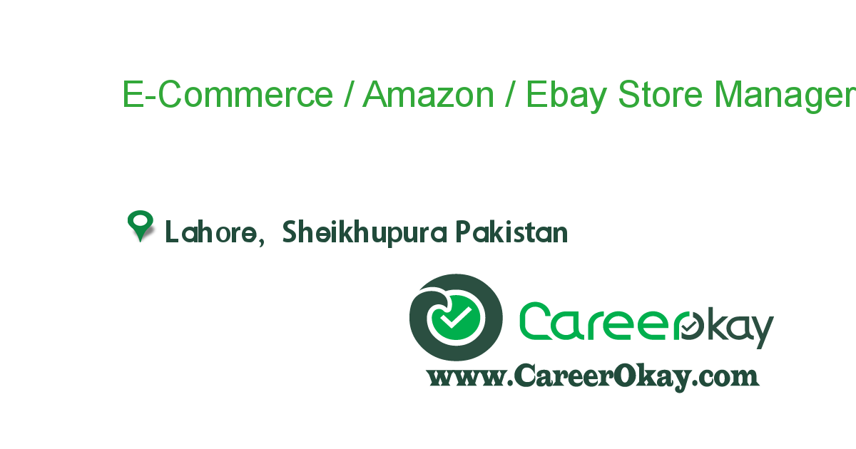 E-Commerce / Amazon / Ebay Store Manager