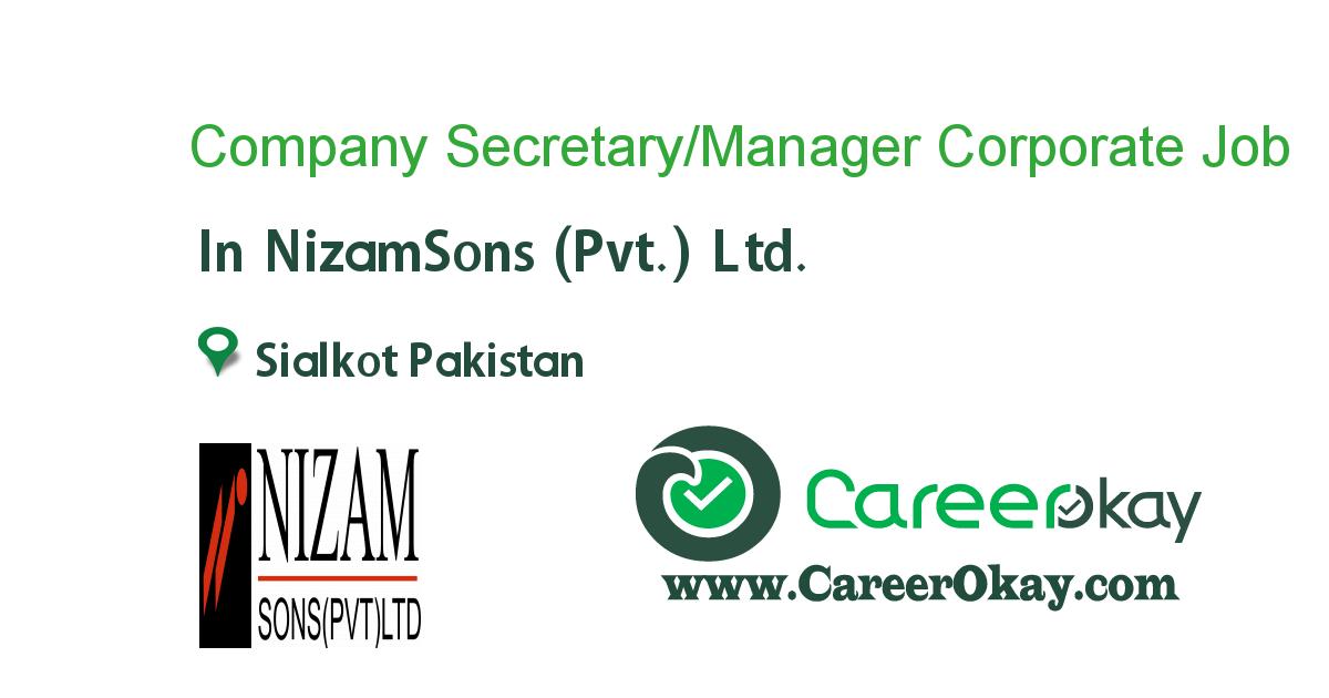Company Secretary/Manager Corporate Affairs