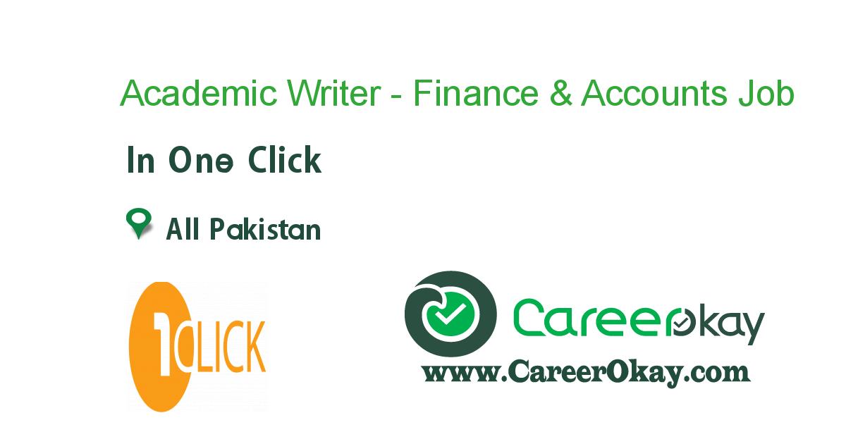 Academic Writer - Finance & Accounts