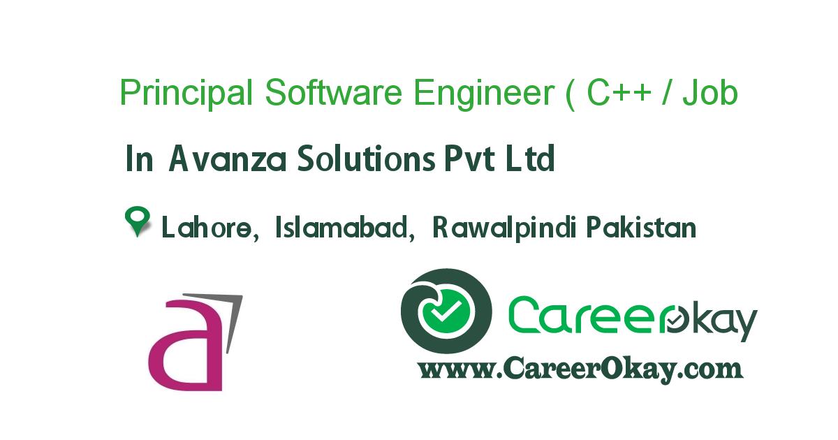 Principal Software Engineer ( C++ / Cplusplus )