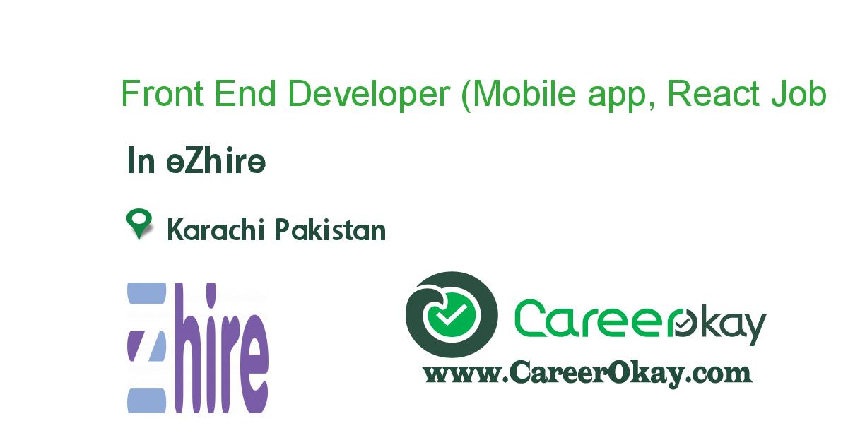 Front End Developer (Mobile app, React Native)