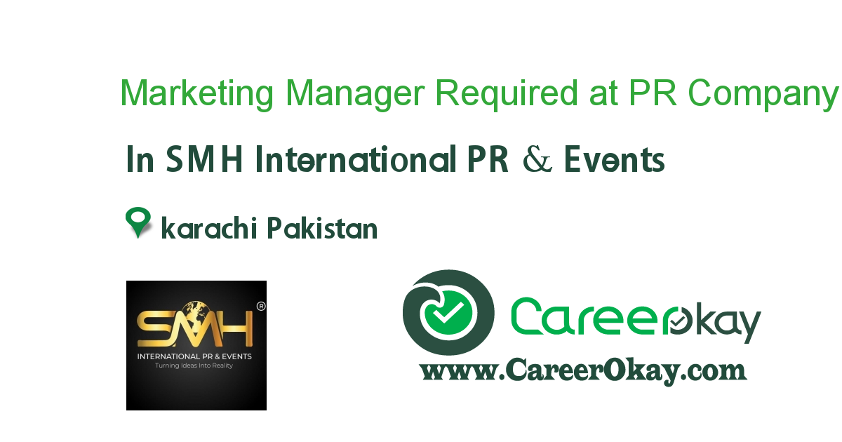 Marketing Manager Required at PR Company