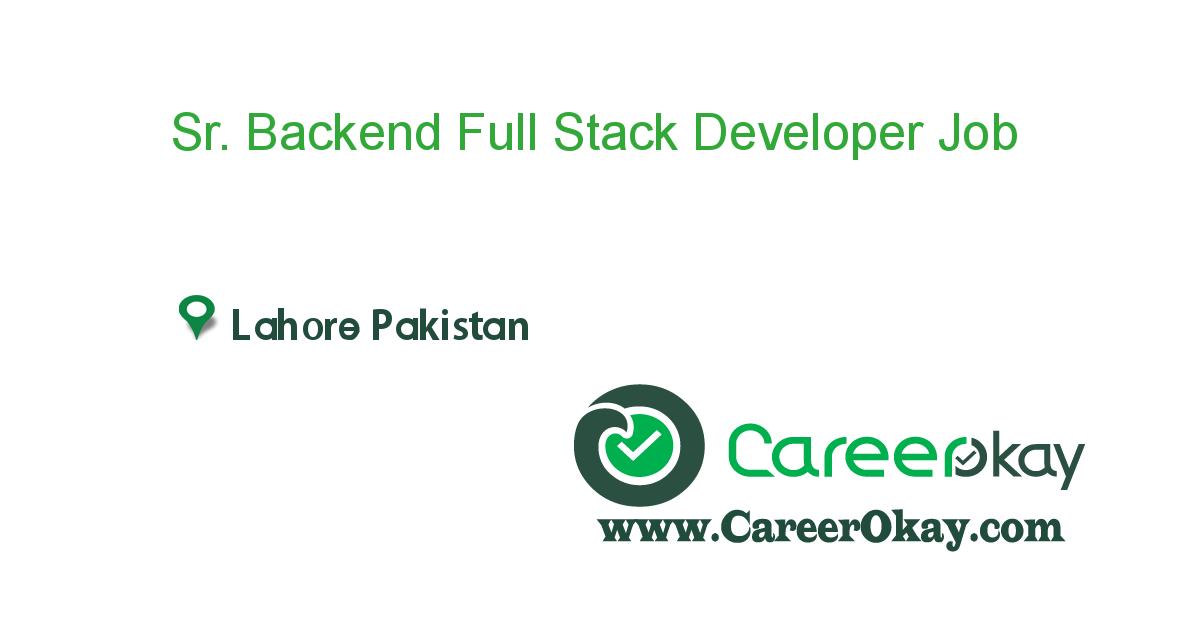 Sr. Backend Full Stack Developer (Remote)