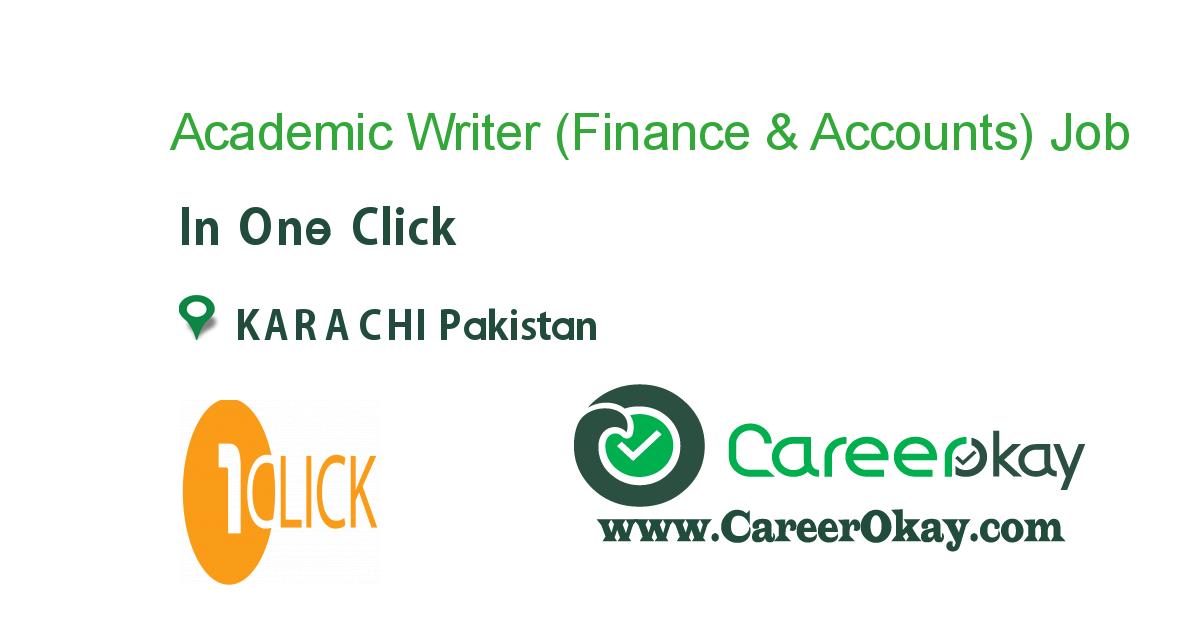 Academic Writer (Finance & Accounts)